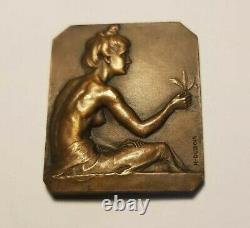 Medaille PLAQUE art deco henri dubois femme NUE Aux lauriers 1903 MEDAL