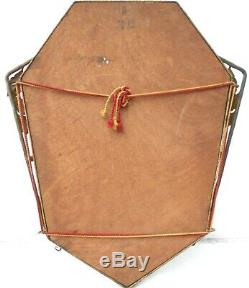 Miroir art-déco fer-forgé martelé, patine bronze. Style Edgar Brandt H 60 cm