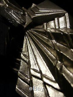 Muller Freres Applique Art Déco Moderniste Bronze Nickelé Tulipe Verre Pressé