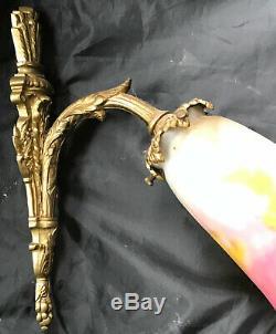 Muller Freres Luneville Applique Pate De Verre Montant Bronze (a) Wall Lamp