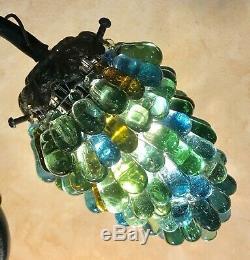 Murano Art Deco Lampe Grappes De Raisins En Verre Souffle Sur Pied Bronze