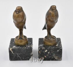 Oiseaux Paire De Serre Livre En Bronze Art Deco Par G. H. Laurent Pigeons