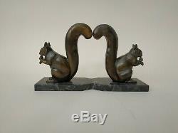 PAIRE DE SERRE-LIVRES ÉCUREUILS par M. LEDUCQ (1879 1955) ART DECO ART NOUVEAU