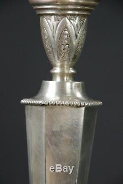 PIED DE LAMPE ART DECO ARGENT FOURRÉ H 39 cm