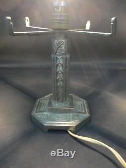 PIED DE LAMPE ART DECO MÉTAL ARGENTÉ POUR OBUS ø 15,6 à 16 cm