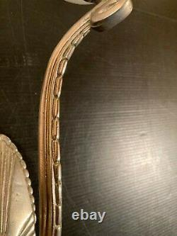 Paire Appliques Double Art Déco Bronze Nickelé Verre Dépoli époque Leleu Dufrene