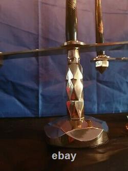 Paire De Bougeoirs ou Chandelier Époque Art-Déco A 3 Bougies Bronze ou Laiton
