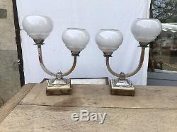 Paire De Lampes Art Deco Chromé Bronze