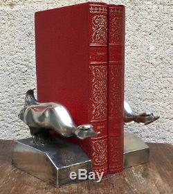 Paire De Serre-Livres Aux Oies-Bronzes Argentés signés G. H. Laurent-Art Deco