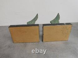 Paire De Serre Livres En Bronze Art Deco Patine Verte Marbre Et Bronze