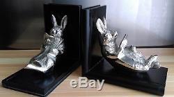 Paire De Serre-livres Lapin Lisant En Bronze Argenté