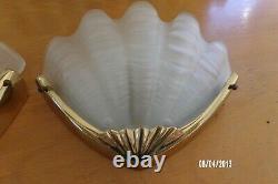 Paire applique ancienne Coquillage style art déco 1970 verre et bronze vintage