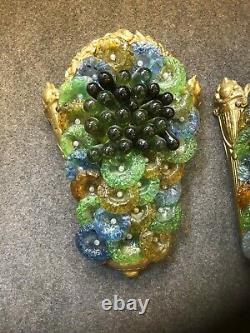 Paire d'applique Art Déco en Bronze et Verre de Murano Luminaire Lampe Grappes