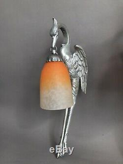 Paire dappliques cigognes Art Déco 1930 bronze et pate de verre Schneider