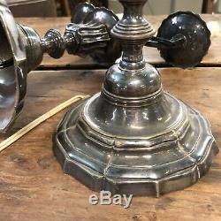 Paire de Chandelier Argenterie Bronze Argenté Louis XIII XIXeme Bougeoir Ancien