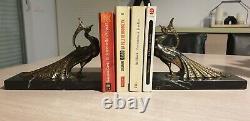 Paire de Serre-livres Paon signé TED. Art Déco. Animalière. Marbre Noir. RARE