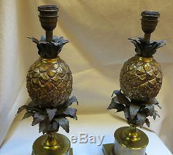 Paire de lampes ananas en bronze Maison Charles