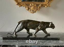 Panthère Art Déco En Régule Patiné Bronze, Signée Sur La Patte Arrière M. Leducq