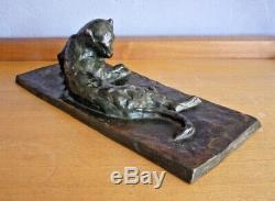 Panthère couchée bronze animalier art nouveau art deco, godchaux, jouve, guyot