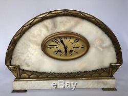 Pendule Art Deco 1930 Marbre Blanc Et Bronze Geometrique Avec Cassolette C2396
