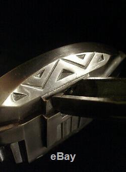 Petitot Paire Dappliques Modernistes Art Déco En Bronze Nickelé & Verre Pressé