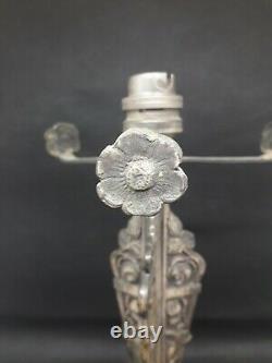 Pied De Lampe Art Deco Bronze Argenté Obus Muller Daum