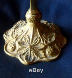 Pied de lampe art Nouveau aux marrons en bronze