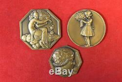 Pierre Turin Art Deco Paris 1925 Femme Fillette Rare Lot 3 Medaille Bronze