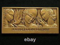 Plaque Bronze Art Deco Jean Vernon Le Secret Du Bonheur Monnaie De Paris