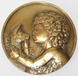 Plaque médaille signée THENOT mythologie en bronze avec poinçon ART DECO