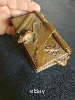 Pyrogène boîte en bronze signe Auguste cain fables la fontainesouris rats xixe
