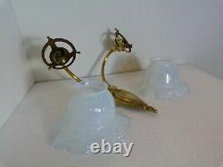 RARE ancienne applique bronze double feux art déco & tulipes en verre opalescent