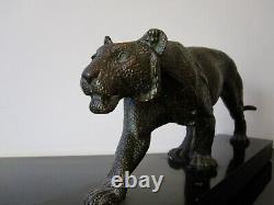 RULAS Sculpture animalière Art Deco patine bronze. Panthère
