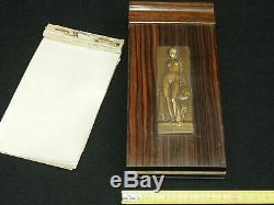Rare Bloc Note En Bois De Macassar Original Art Deco 1925 Plaque Bronze P. Turin