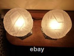Rare, Paire de lampe authentiques Art Déco signées Muller Frères Lunéville
