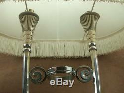 Rare Superbe Lampe Epoque Art Deco En Bronze Argenté Christofle