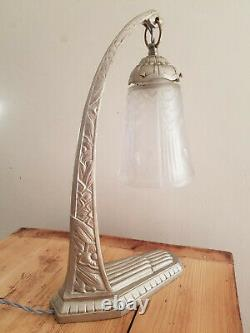 Rare en bronze argent, lampe Art déco 1925 signée C Ranc verre signé Muller