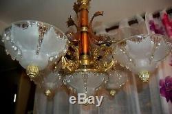 Rare magnifique lustre art deco ezan petitot, sabino, lustre en cuivre et bronze