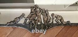 Rare superbe ancien miroir art-déco en bronze argenté mêlée de rugby début 20ème