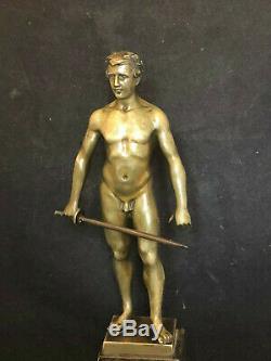 S. SCHWATENBERG 1898- 1922 Athlête à L'épée Art Deco Bronze Homme Nu Antique