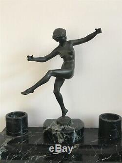 Sculpture En bronze Danseuse nue signée Briant Marcel Bouraine ART DECO 1930
