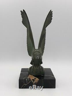 Sculpture MAX LE VERRIER vautour oiseau regule bronze FONTE D ART deco 1930