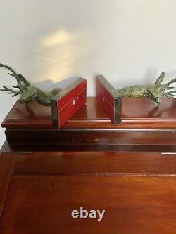 Serre Livres Anciens Art Deco Cerfs Bronze Sur Marbre +++