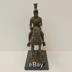 Statue Cheval Chevalier Armure Style Art Deco Style Art Nouveau Bronze massif Si