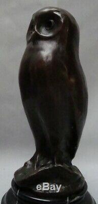 Statue Chouette Hibou Oiseau Animalier Style Art Deco Bronze massif Signe