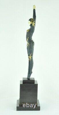 Statue Sculpture Danseuse Pin-up Sexy Style Art Deco Bronze massif Signe