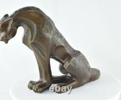Statue Sculpture Dragon Animalier Style Art Deco Bronze massif Signe
