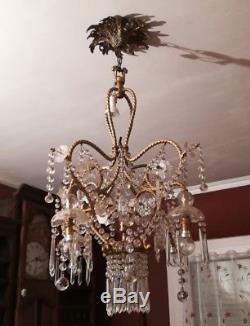 Sublime Lustre Cage Baccarat, Pampilles Cristal Baccarat, 5 Feux, Socle en Bronze