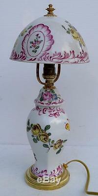 Superbe Petite LAMPE DE TABLE en Faïence Décorée Émaux Bronze doré