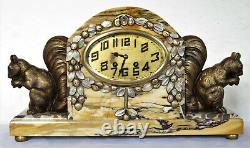 Superbe garniture pendule Art Déco marbre clock spelter bronze